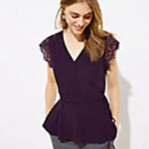 LACE CAP SLEEVE WRAP TOP (NEW WITH TAGS)(MEDIUM)